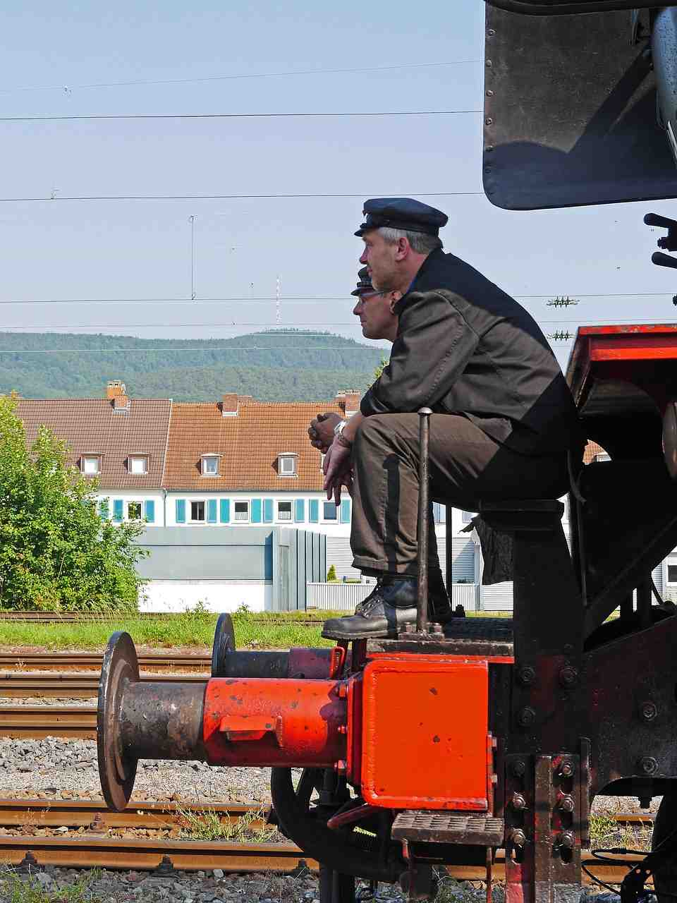 locomotive à vapeur, conducteur de train, chauffeur